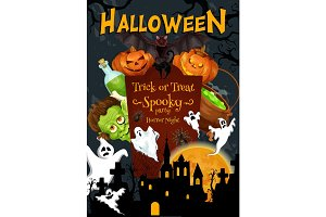 Halloween party vector holiday night poster