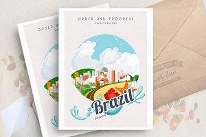 Brazil. Travel vector poster