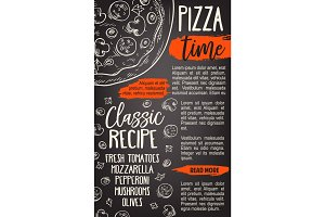 Pizza fast food sketch vector Italy pizzeria