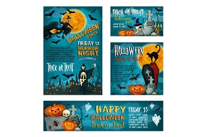 Halloween banner template for holiday party design