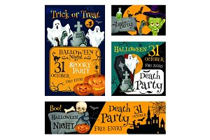 Halloween night party banner for invitation design