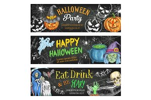 Halloween vector sketch banners for holiday party