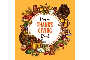 Thanksgiving vector sketch poster or greeting card