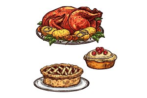 Thanksgiving day turkey, pie dinner sketch food
