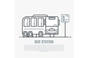 Bus station line illustration