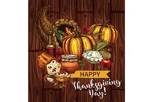 Thanksgiving day sketch vector cornucopia poster