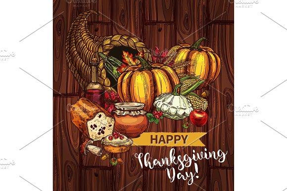 Thanksgiving day sketch vector cornucopia poster