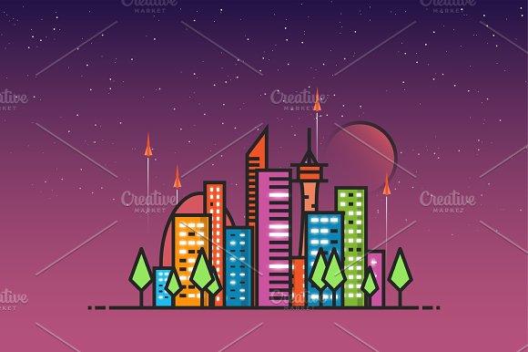 Futuristic city and rockets