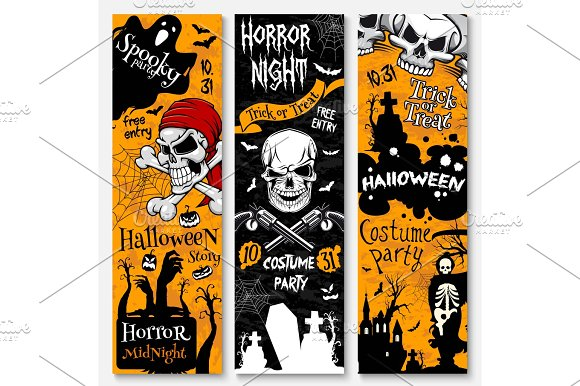 Halloween holiday banner of pirate costume party