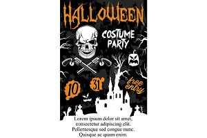 Halloween holiday zombie party invitation poster