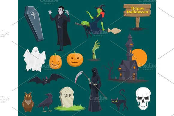 Halloween monsters, pumpkin ghost vecor icons