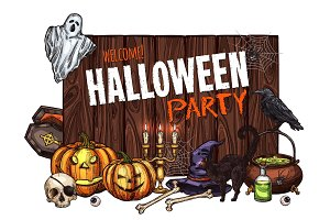 Halloween witch monster vector party sketch poster