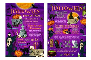 Halloween trick or treat poster of october holiday