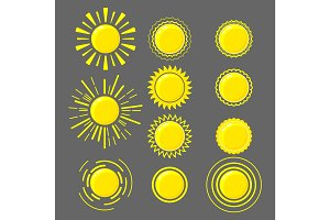 Set of yellow suns