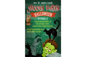 Halloween holiday October party vector poster