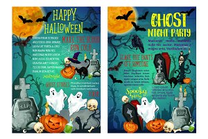 Halloween holiday ghost scary party posters