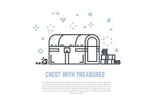 Treasure chest line vector