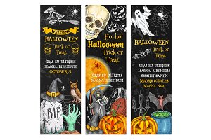 Halloween pumpkin, ghost, skull chalkboard banner