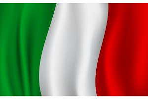 Vector 3D flag of Italy. Italian national symbol