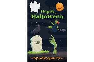 Halloween pumpkin and ghost greeting banner design