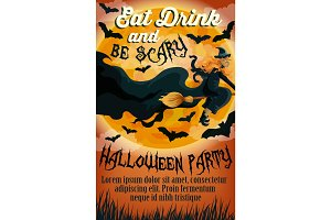 Halloween holiday party trick treat vector poster