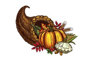 Thanksgiving day cornucopia vector sketch harvest