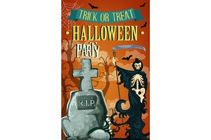 Halloween night party death vector poster