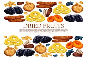 Vector poster of dried fruits snacks