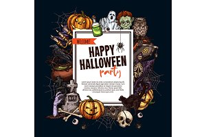 Halloween sketch monsters vector party poster