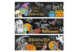 Halloween spooky night party chalkboard banner