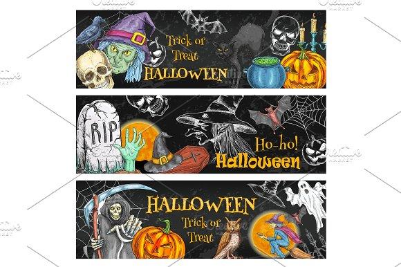 Halloween Spooky Night Party Chalkboard Banner