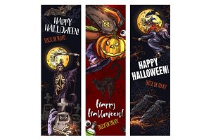 Halloween witch monsters vector sketch banners