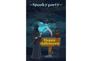 Halloween holiday night party banner with skeleton
