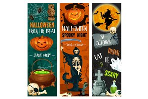 Halloween party vector sketch holiday night banner
