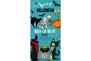 Halloween vector party monster witch poster