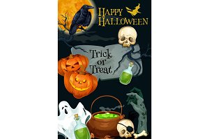Halloween vector holiday pumpkin monster poster
