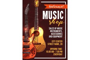 Vector music shop poster sketch musical instrument