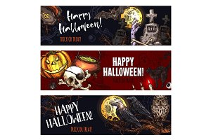 Halloween vector banners for October holiday sketch