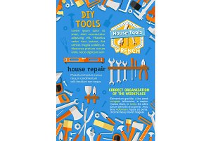 Vector poster of DIY repair handyman work tools