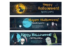 Halloween party banner with ghost, bat and witch