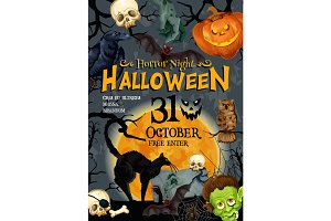Halloween party vector monster night poster