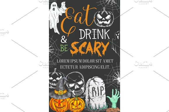 Halloween Party Vector Sketch Spooky Ghost Poster