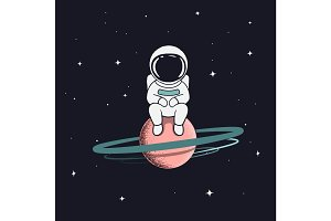 astronaut sits on saturn