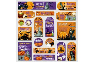 Halloween holiday spooky party tag, label design