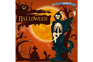 Halloween holiday death vector horror poster