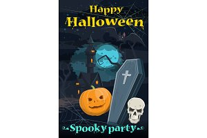 Halloween greeting card of holiday night horror