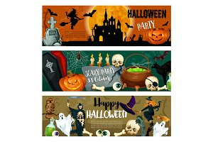Halloween vector monster night party banners