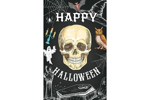 Halloween vector sketch poster horror skull