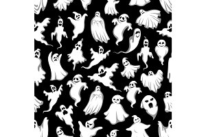 Spooky ghost Halloween holiday seamless pattern