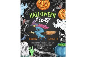 Halloween vector party sketch pumpkin witch poster